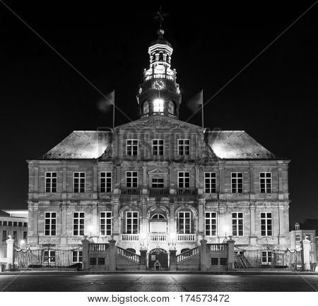 a night photo of city hall of Maastricht, Netherlands