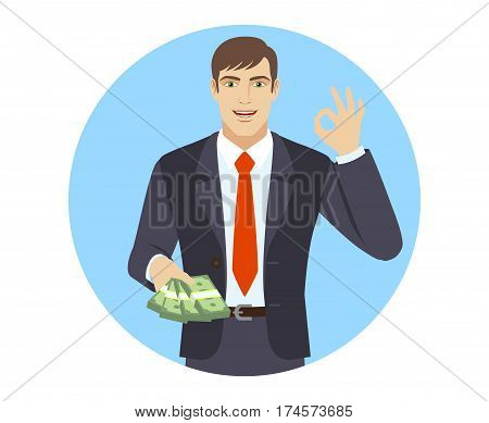 OK! Businessman with money show a okay hand sign. Portrait of businessman in a flat style. Vector illustration.