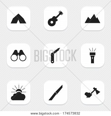 Set Of 9 Editable Trip Icons. Includes Symbols Such As Tepee, Knife, Peak And More. Can Be Used For Web, Mobile, UI And Infographic Design.