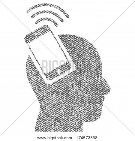 Head Smartphone Plugin Ring vector textured icon for overlay watermark stamps. Fabric gray vectorized texture. Symbol with dirty design. Rubber seal stamp with fiber textile structure.