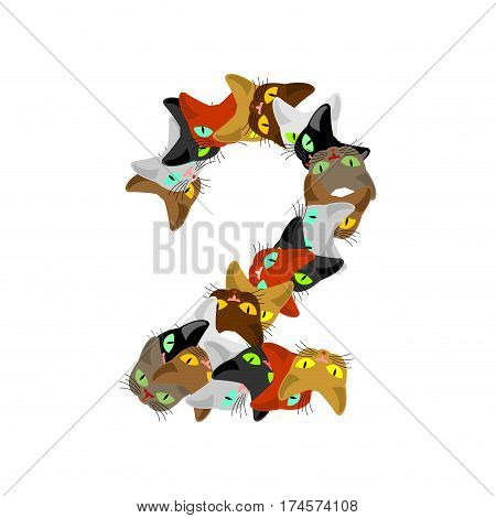 Number 2 Cat Font. Cats Number Two. Pet Alphabet Sign. Home Animal Abc