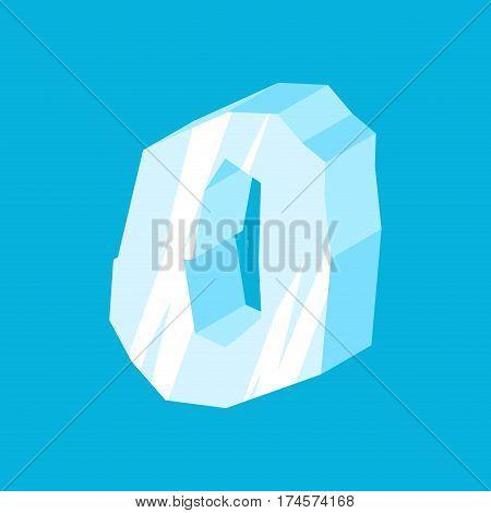 Number 0 Ice. Icicles Font Zero. Frozen Alphabet Symbol. Iceberg Abc Sign