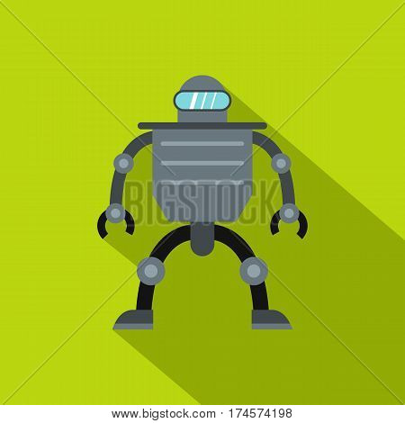 Cyborg robot icon. Flat illustration of cyborg robot vector icon for web isolated on lime background
