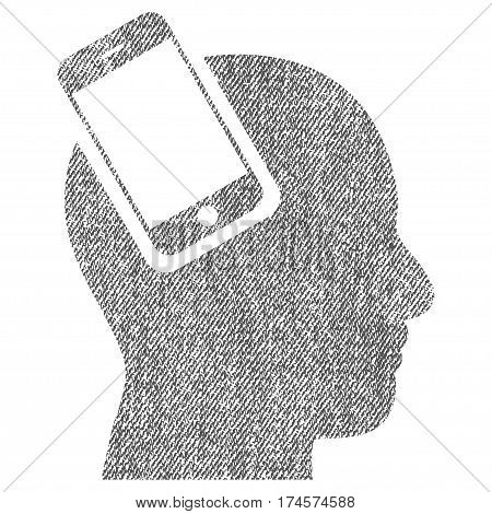 Smartphone Head Integration vector textured icon for overlay watermark stamps. Fabric gray vectorized texture. Symbol with scratched design. Rubber seal stamp with fiber textile structure.