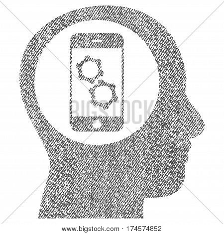 Smartphone Mind Control vector textured icon for overlay watermark stamps. Fabric gray vectorized texture. Symbol with dirty design. Rubber seal stamp with fiber textile structure.