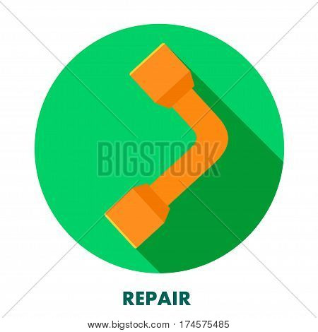Repair icon. Wrench on a round background with shadow. Vector wrench icon. Stock vector