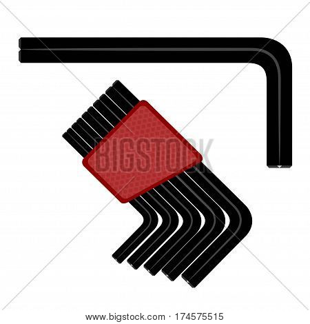 Allen wrench. Vector illustration of a hex wrench on a white background. Tool for repair. Stock vector