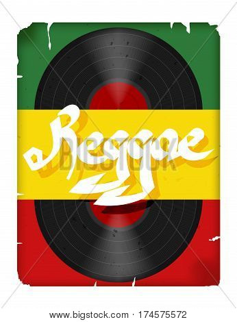 The record reggae music.Musical poster reggae.Vector illustration of a colored flag with the word reggae and grunge. Abstract illustration of reggae. Stock vector
