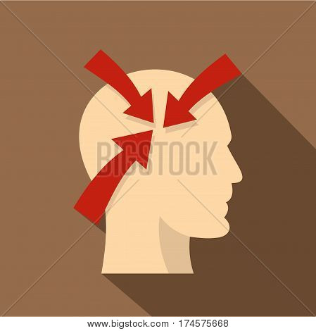 Profile of the head with red arrows inside icon. Flat illustration of profile of the head with red arrows inside vector icon for web isolated on coffee background