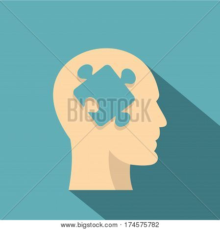 Head silhouette with jigsaw puzzle icon. Flat illustration of head silhouette with jigsaw puzzle vector icon for web isolated on baby blue background