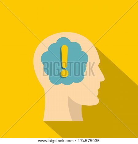 Exclamation mark inside human head icon. Flat illustration of exclamation mark inside human head vector icon for web isolated on yellow background