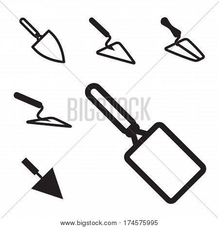 Trowel Icon Set Isolated