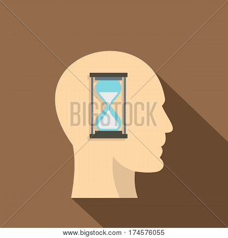 Sandglass inside a man head icon. Flat illustration of sandglass inside a man head vector icon for web isolated on coffee background