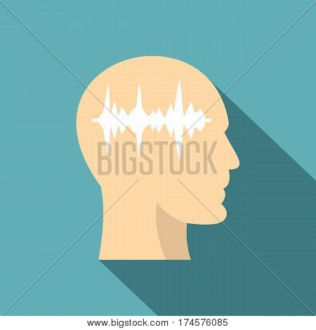 Profile of the head with sound wave inside icon. Flat illustration of profile of the head with sound wave inside vector icon for web isolated on baby blue background