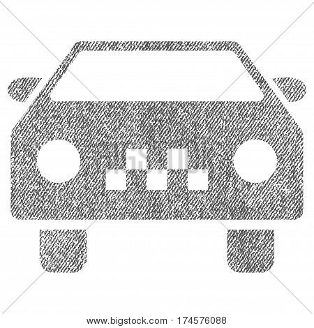 Taxi Car vector textured icon for overlay watermark stamps. Fabric gray vectorized texture. Symbol with dirty design. Rubber seal stamp with fiber textile structure.