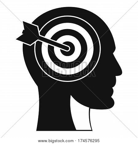 Target in human head icon. Simple illustration of target in human head vector icon for web
