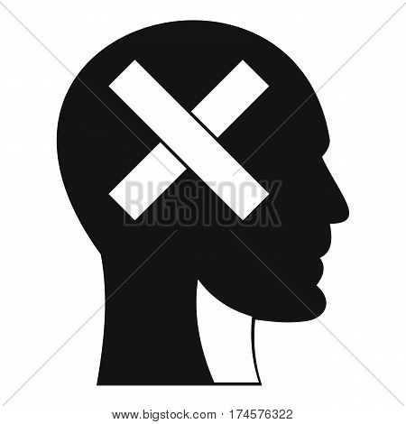 Human head with cross inside icon. Simple illustration of human head with cross inside vector icon for web