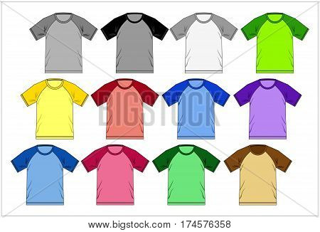 Template design T shirt Raglan colorful set, Vector