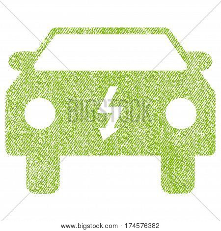 Electric Car vector textured icon for overlay watermark stamps. Fabric light green vectorized texture. Symbol with scratched design. Rubber seal stamp with fiber textile structure.