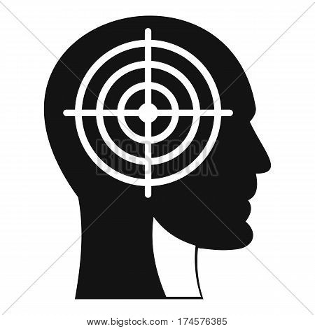 Crosshair in human head icon. Simple illustration of crosshair in human head vector icon for web