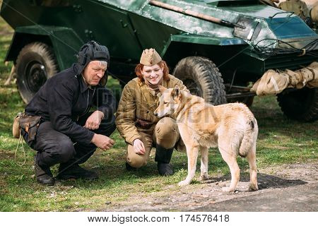 Pribor, Belarus - April 23, 2016: Young Woman And Man Re-enactors Dressed As Russian Soviet Red Army Soldiers Of World War II Playing with Dog