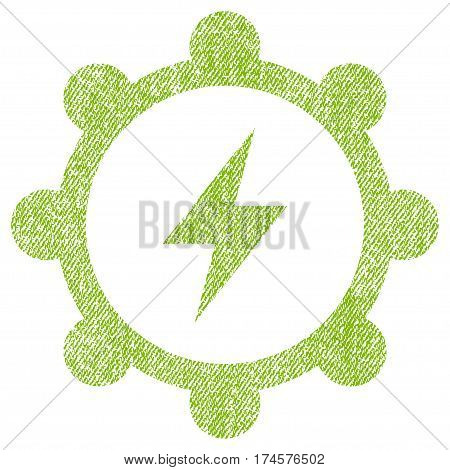 Electric Energy Cogwheel vector textured icon for overlay watermark stamps. Fabric light green vectorized texture. Symbol with scratched design. Rubber seal stamp with fiber textile structure.