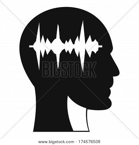 Sound wave icon in human head icon. Simple illustration of sound wave icon in human head vector icon for web