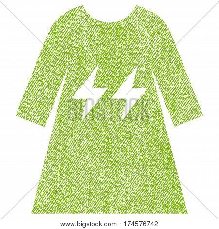 Electric Energy Girl Dress vector textured icon for overlay watermark stamps. Fabric light green vectorized texture. Symbol with unclean design. Rubber seal stamp with fiber textile structure.