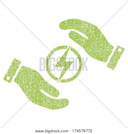 Electric Energy Insurance Hands vector textured icon for overlay watermark stamps. Fabric light green vectorized texture. Symbol with dirty design. Rubber seal stamp with fiber textile structure.