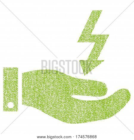 Electric Energy Service Hand vector textured icon for overlay watermark stamps. Fabric light green vectorized texture. Symbol with dirty design. Rubber seal stamp with fiber textile structure.