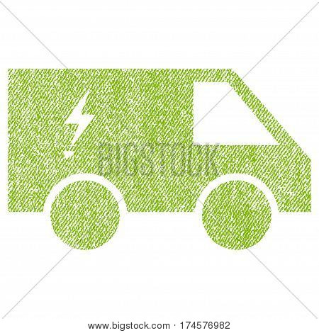 Electric Power Car vector textured icon for overlay watermark stamps. Fabric light green vectorized texture. Symbol with dirty design. Rubber seal stamp with fiber textile structure.