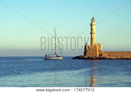 Lighthouse in Chania (Greece) in the morning