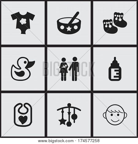 Set Of 9 Editable Infant Icons. Includes Symbols Such As Pinafore, Lineage, Spoon And More. Can Be Used For Web, Mobile, UI And Infographic Design.