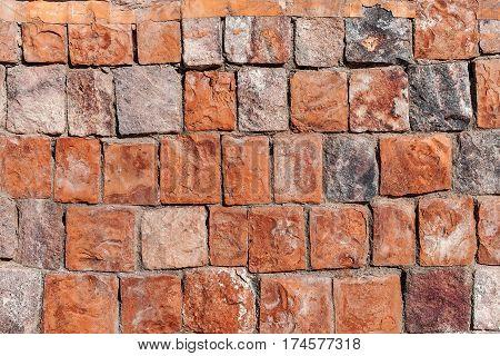 background old broken brown yellow brick wall.