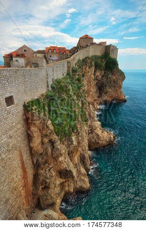 Exterior wall of the Old City of Dubrovnik , Croatia