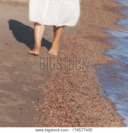 Vacation Travel - Woman Leg Closeup Walking On White Sand Relaxing In Beach Cover-up Pareo Beachwear