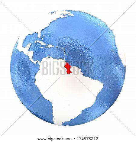 Guyana On Globe Isolated On White