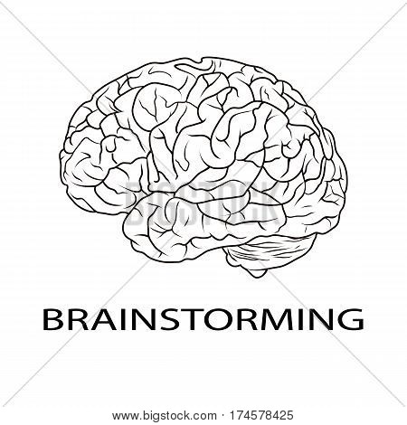 BRAINSTORMING letters and icon of human brain isolated on white.