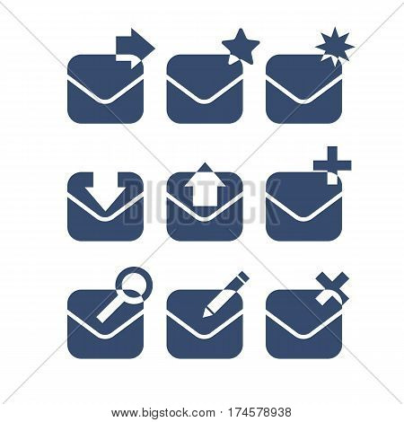 Mail icon set. Simple design. Vector illustration