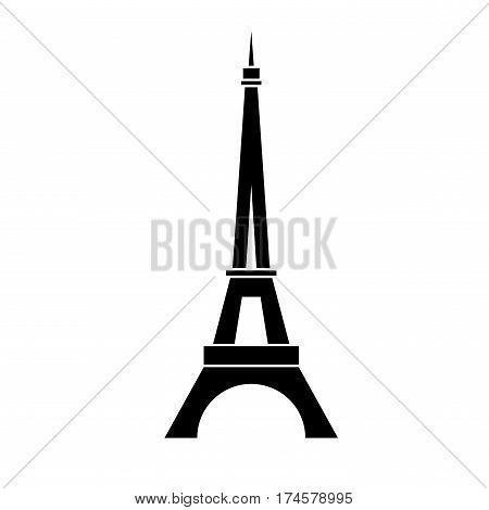 Eiffel Tower logo icon. Old style. Symbol french Paris holiday travel tour. Black silhouette tall building Eifel Tower isolated white background. Modern architecture design Vector illustration