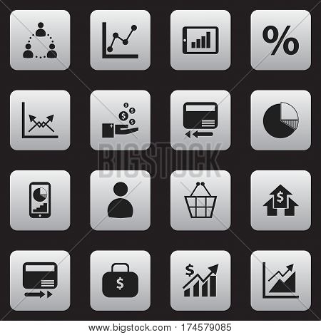 Set Of 16 Editable Statistic Icons. Includes Symbols Such As Revenue, Credit Card, Banking House And More. Can Be Used For Web, Mobile, UI And Infographic Design.