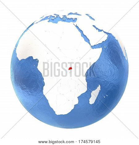Rwanda On Globe Isolated On White