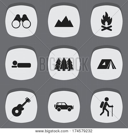 Set Of 9 Editable Trip Icons. Includes Symbols Such As Gait, Sport Vehicle, Field Glasses And More. Can Be Used For Web, Mobile, UI And Infographic Design.