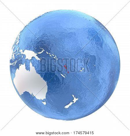 Vanuatu On Globe Isolated On White