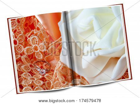 Book Of Wedding Rings On Colorful Fabric