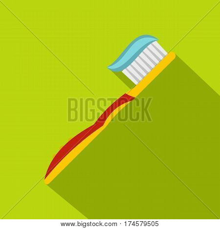 Yellow toothbrush with toothpaste icon. Flat illustration of yellow toothbrush with toothpaste vector icon for web isolated on lime background