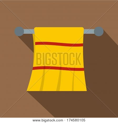 Yellow towel hanging on hanger icon. Flat illustration of yellow towel hanging on hanger vector icon for web isolated on coffee background