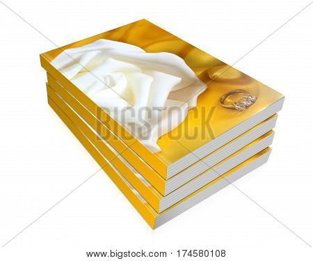 Books Of  Wedding Rings On Yellow Fabric