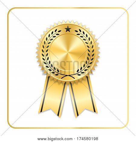 Award Ribbon Gold Icon Laurel Wreath