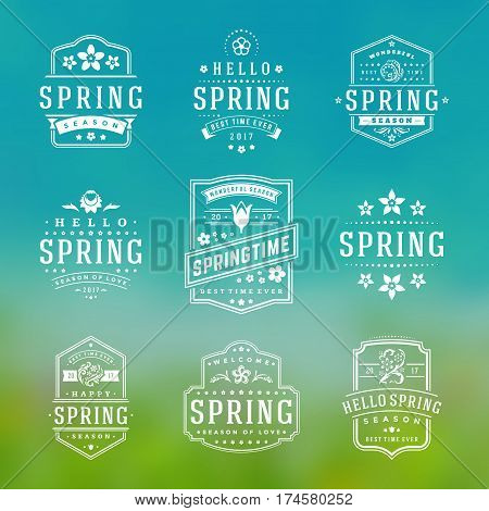 Spring Typographic Badges Design Set. Vector Vintage Logos Elements good for Spring Greeting Cards.
